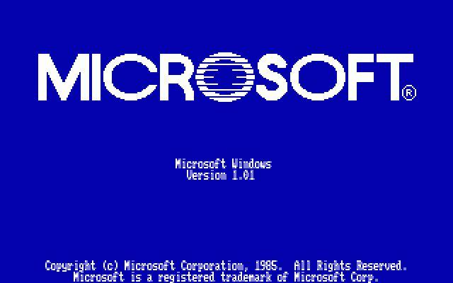 Windows 1.0 welcome screen