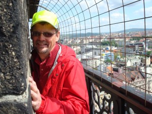 Yours truly high up on St. Bartholomew's Cathedral in Plzen. WIndows 7 does a great job of organizing photos.