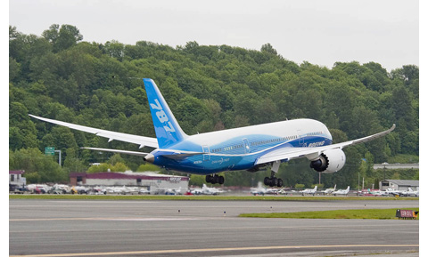 Taking off from Boeing Field. credit: Boeing Commercial Airplanes
