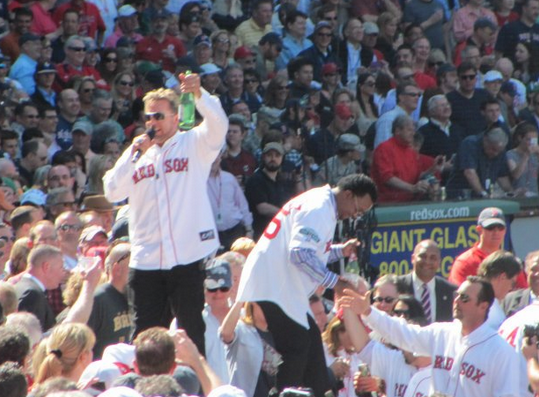 Sox greats Kevin Millar and Pedro Martinez on the 100th...maybe it was a Pedro fast ball.