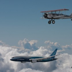 Boeing 40C and 787 pair up in historic sky shot